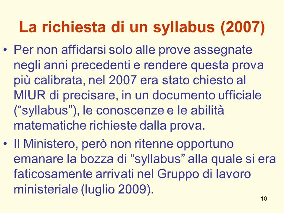 La richiesta di un syllabus (2007)