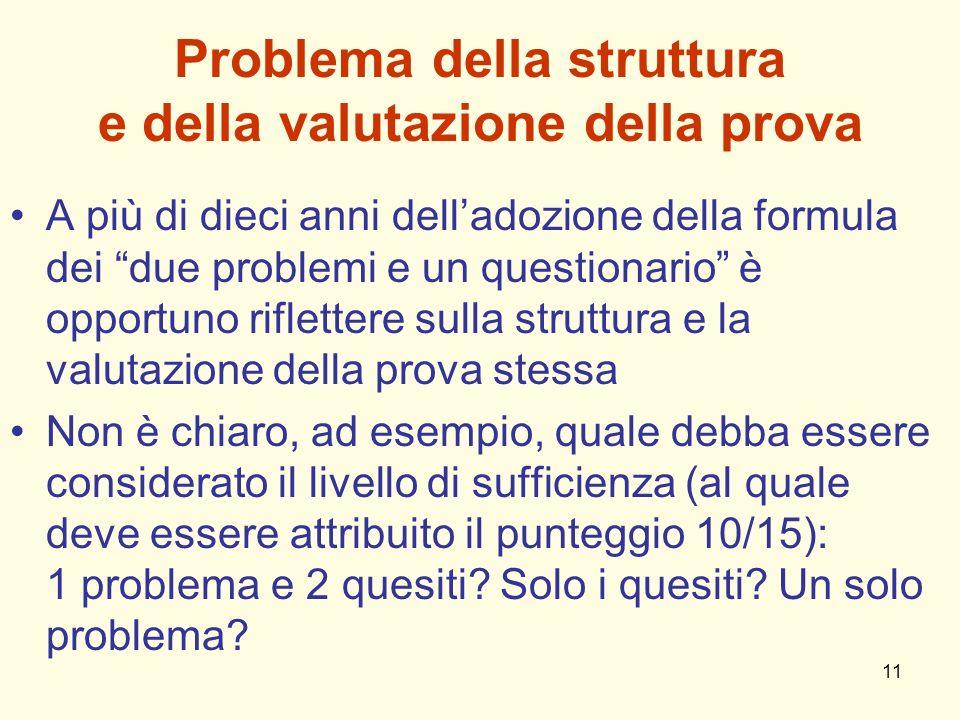 Problema della struttura e della valutazione della prova