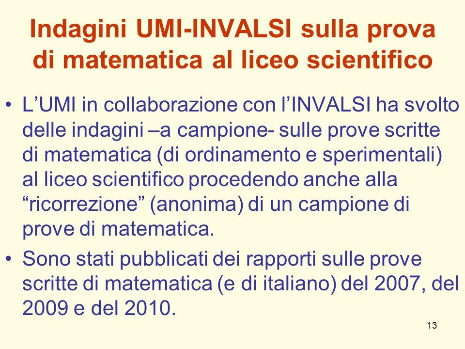 Indagini UMI-INVALSI sulla prova di matematica al liceo scientifico
