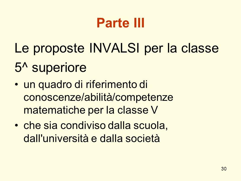 Le proposte INVALSI per la classe 5^ superiore