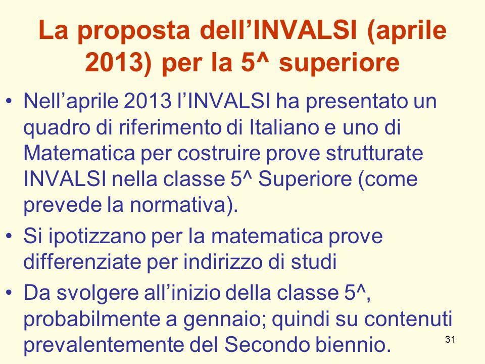 La proposta dell'INVALSI (aprile 2013) per la 5^ superiore