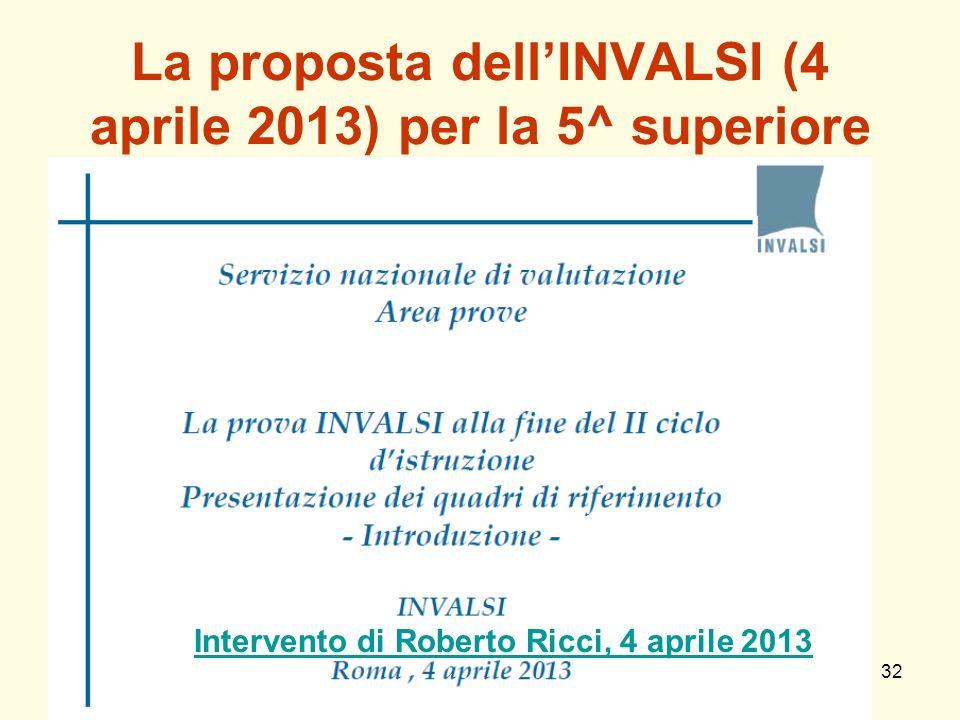 La proposta dell'INVALSI (4 aprile 2013) per la 5^ superiore