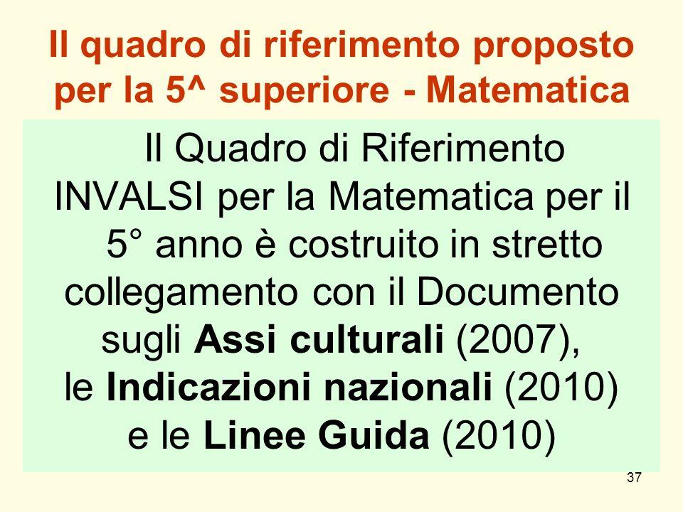 Il quadro di riferimento proposto per la 5^ superiore - Matematica