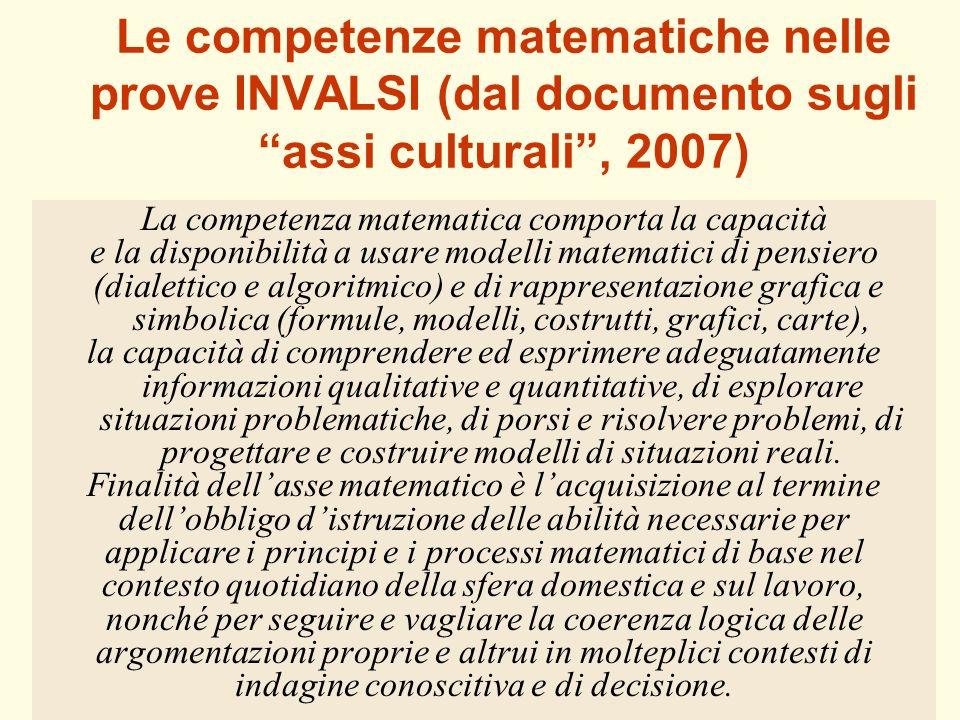Le competenze matematiche nelle prove INVALSI (dal documento sugli assi culturali , 2007)