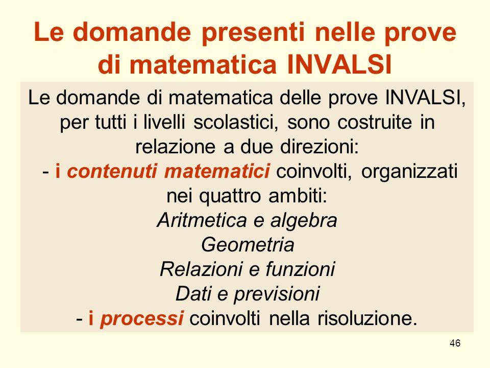 Le domande presenti nelle prove di matematica INVALSI