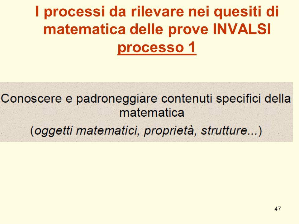 I processi da rilevare nei quesiti di matematica delle prove INVALSI processo 1