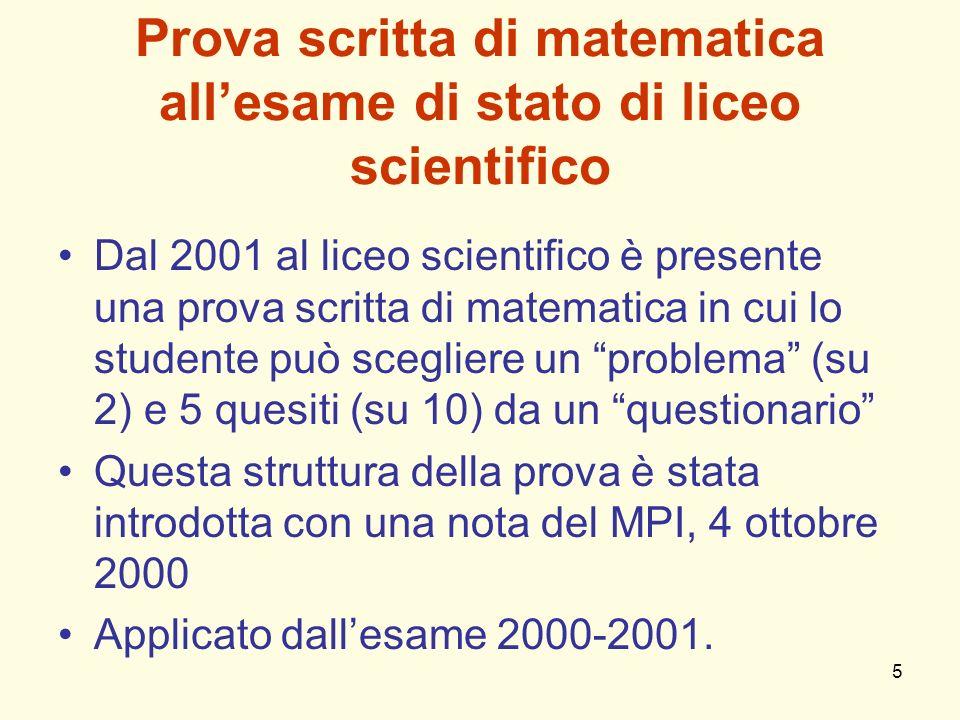 Prova scritta di matematica all'esame di stato di liceo scientifico