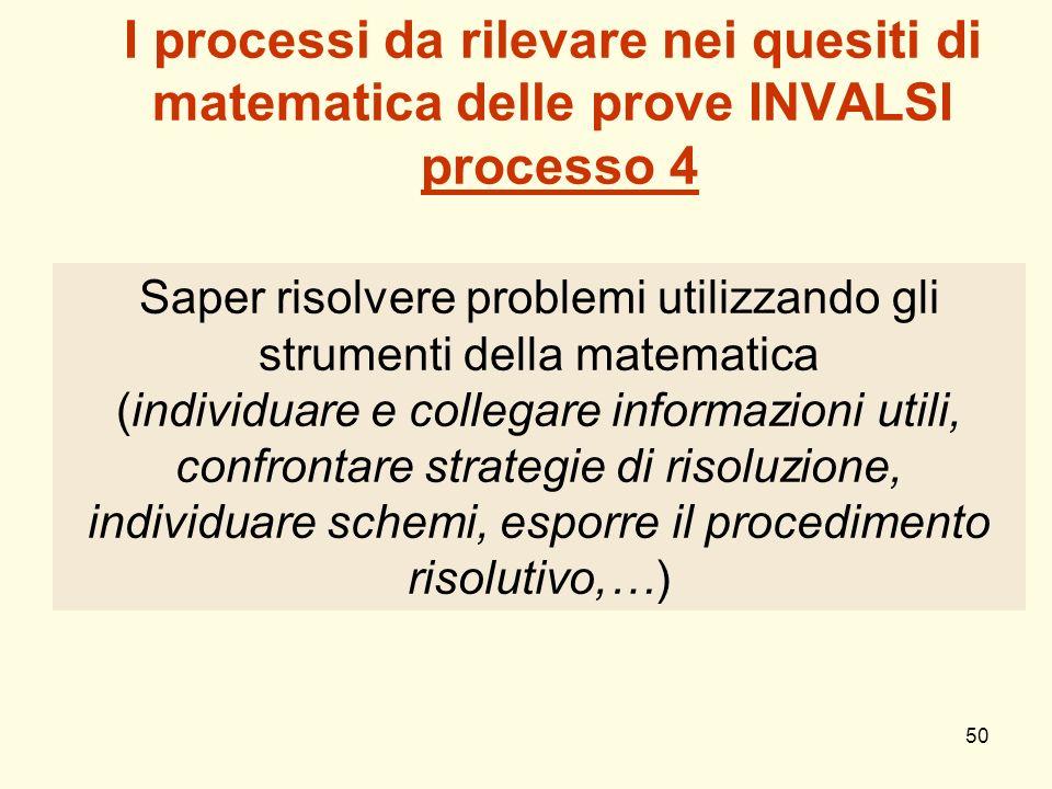 I processi da rilevare nei quesiti di matematica delle prove INVALSI processo 4