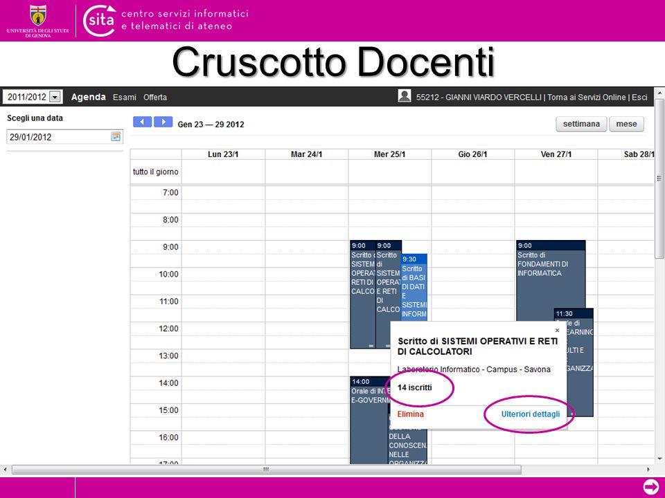 Cruscotto Docenti Data prova/appello inserita dal docente (colorazione più scura)