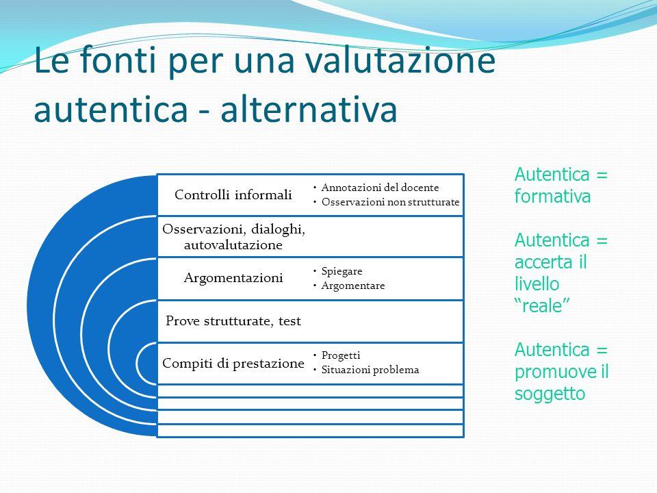 Le fonti per una valutazione autentica - alternativa