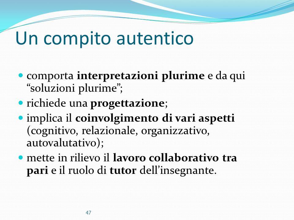 Un compito autentico comporta interpretazioni plurime e da qui soluzioni plurime ; richiede una progettazione;