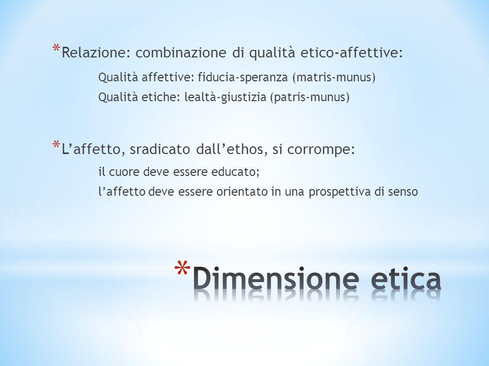 Dimensione etica Relazione: combinazione di qualità etico-affettive:
