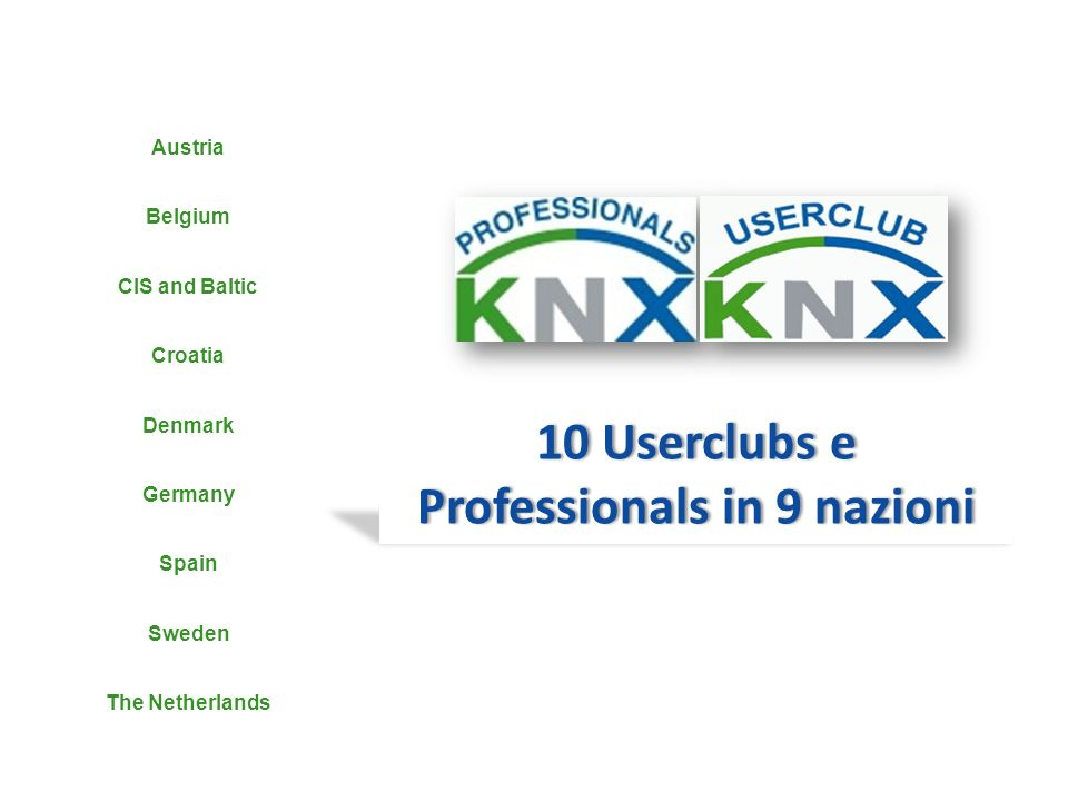 10 Userclubs e Professionals in 9 nazioni