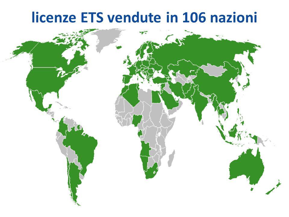 licenze ETS vendute in 106 nazioni