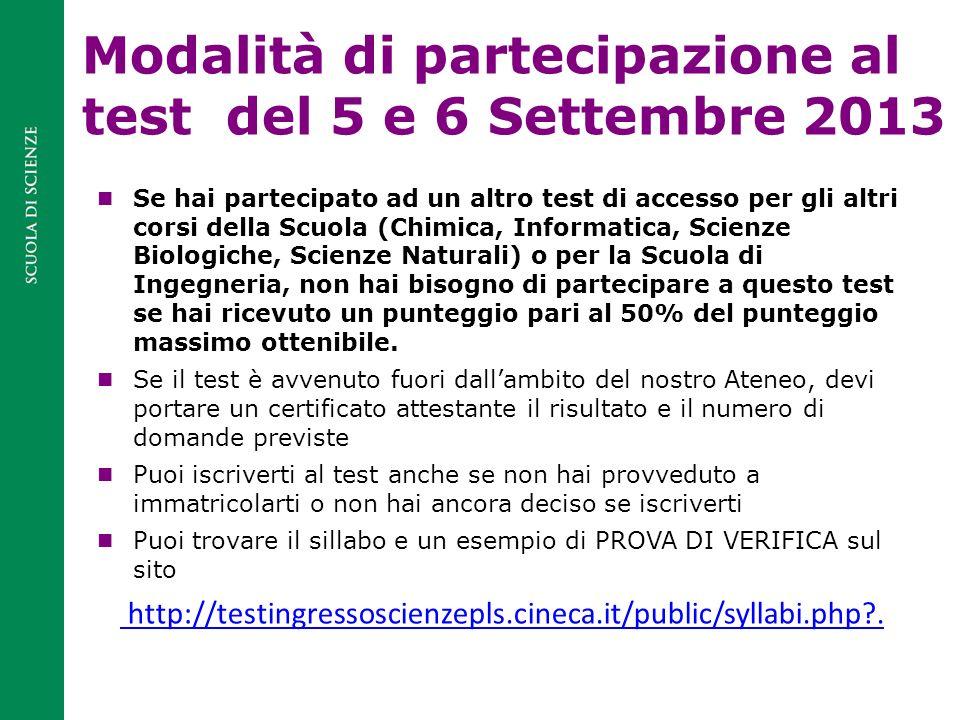 Modalità di partecipazione al test del 5 e 6 Settembre 2013