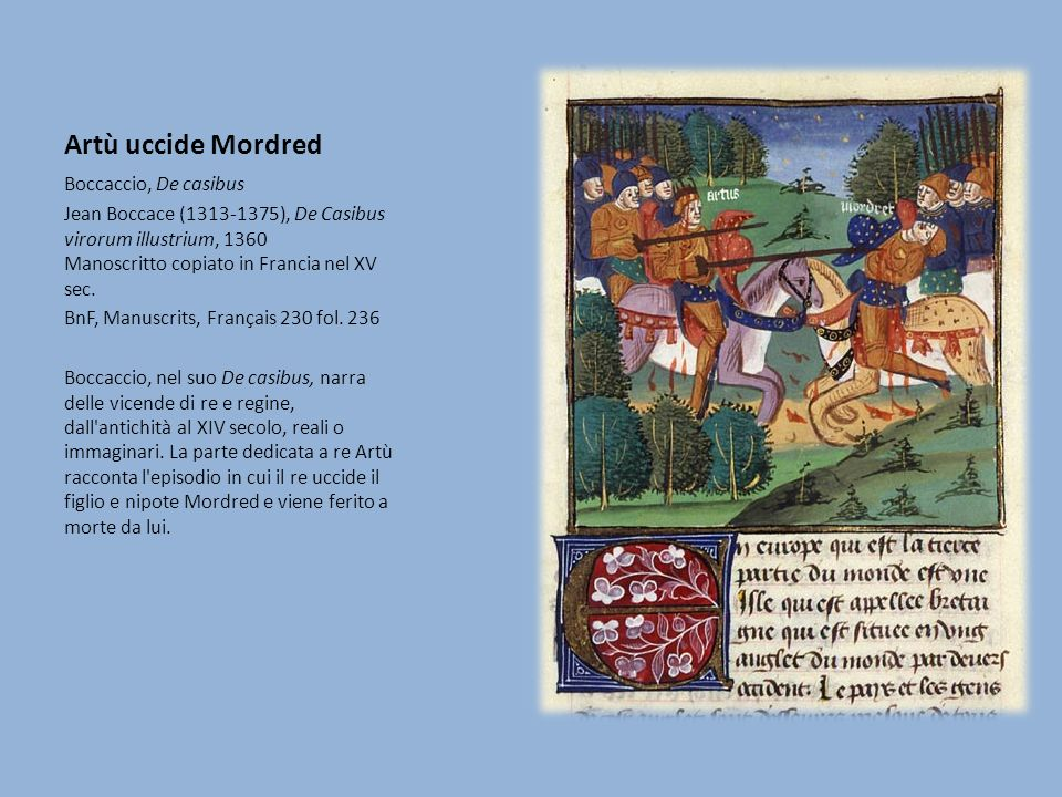 Artù uccide Mordred Boccaccio, De casibus