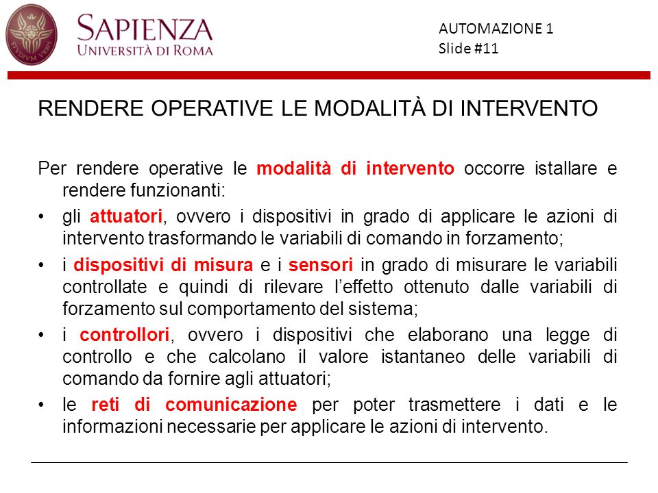 RENDERE OPERATIVE LE MODALITÀ DI INTERVENTO