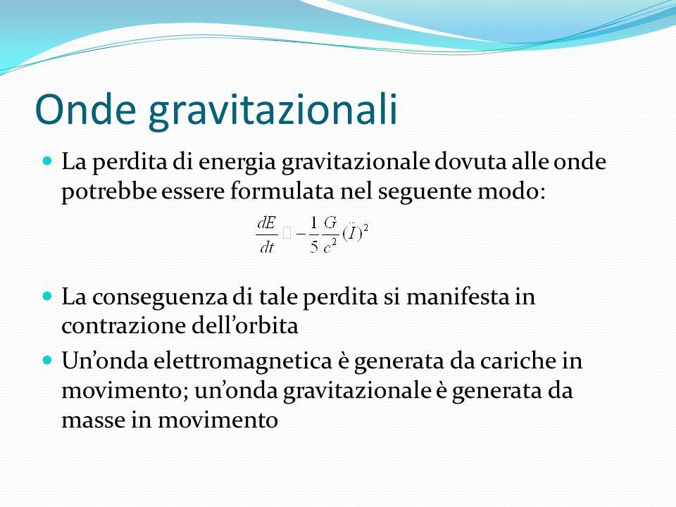 Onde gravitazionali La perdita di energia gravitazionale dovuta alle onde potrebbe essere formulata nel seguente modo: