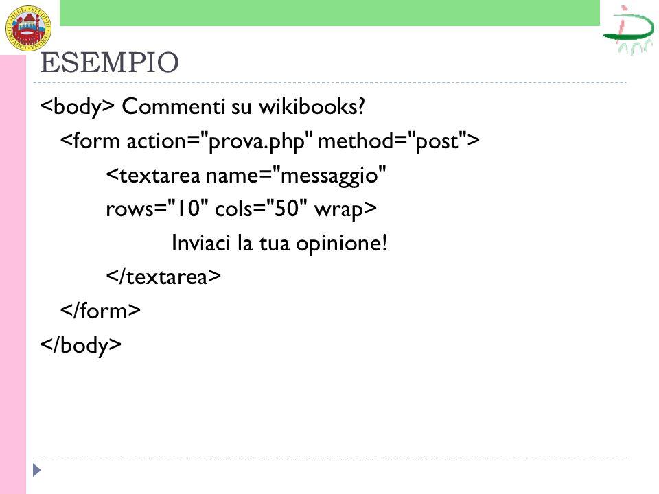 ESEMPIO <body> Commenti su wikibooks