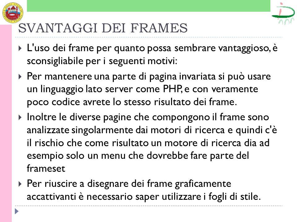 SVANTAGGI DEI FRAMES L uso dei frame per quanto possa sembrare vantaggioso, è sconsigliabile per i seguenti motivi: