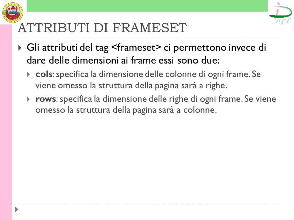 ATTRIBUTI DI FRAMESET Gli attributi del tag <frameset> ci permettono invece di dare delle dimensioni ai frame essi sono due: