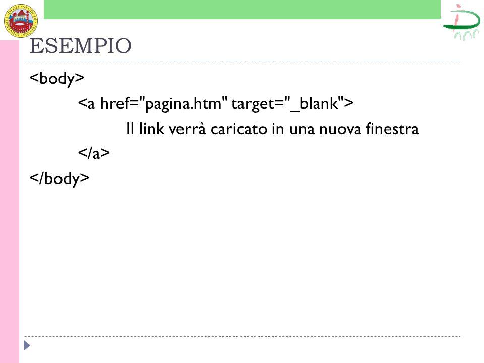 ESEMPIO <body> <a href= pagina.htm target= _blank > Il link verrà caricato in una nuova finestra </a> </body>