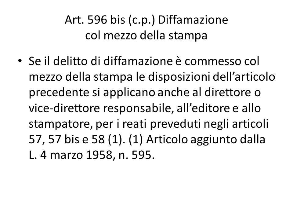 Art. 596 bis (c.p.) Diffamazione col mezzo della stampa