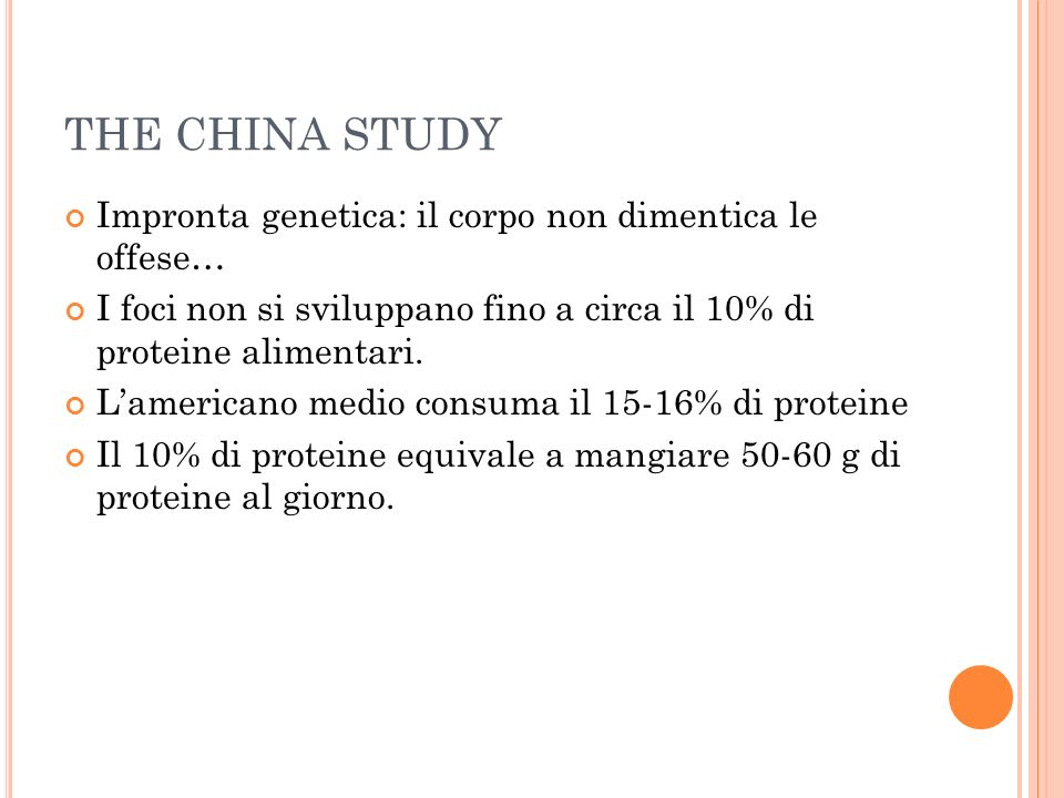 THE CHINA STUDY Impronta genetica: il corpo non dimentica le offese…