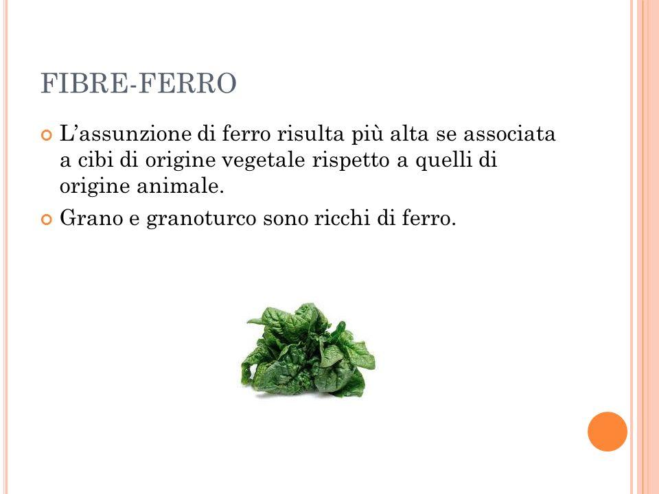 FIBRE-FERRO L'assunzione di ferro risulta più alta se associata a cibi di origine vegetale rispetto a quelli di origine animale.