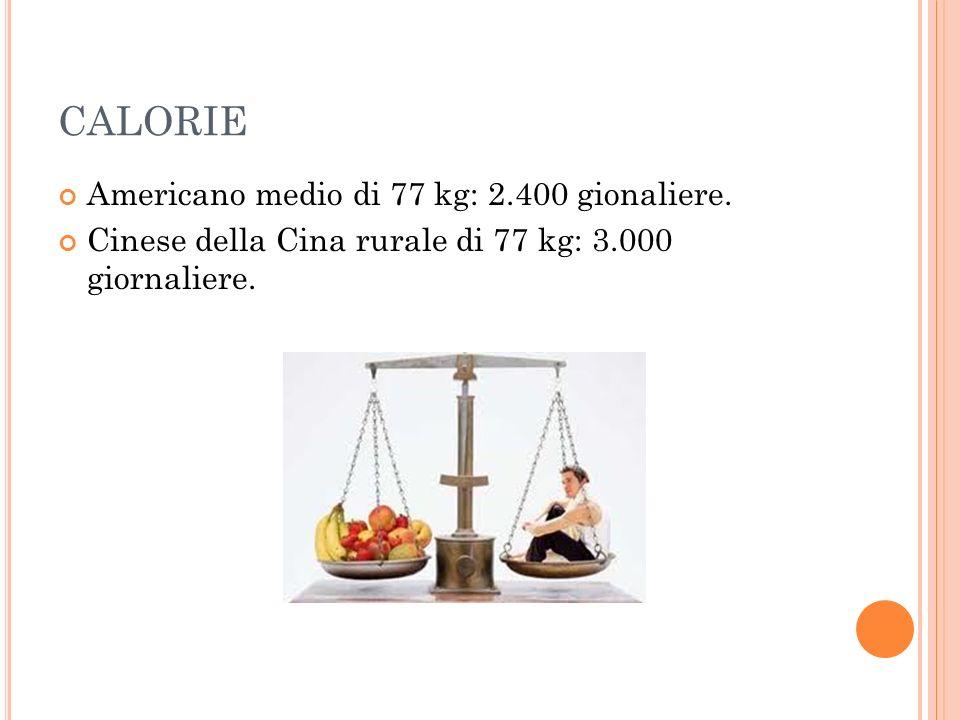 CALORIE Americano medio di 77 kg: 2.400 gionaliere.