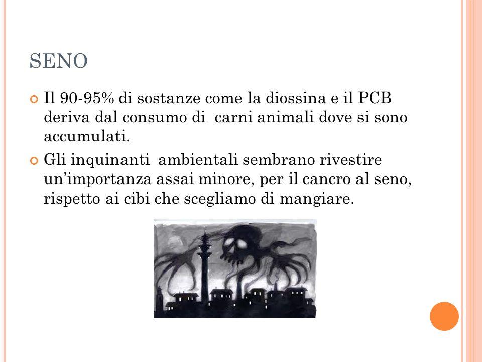SENO Il 90-95% di sostanze come la diossina e il PCB deriva dal consumo di carni animali dove si sono accumulati.