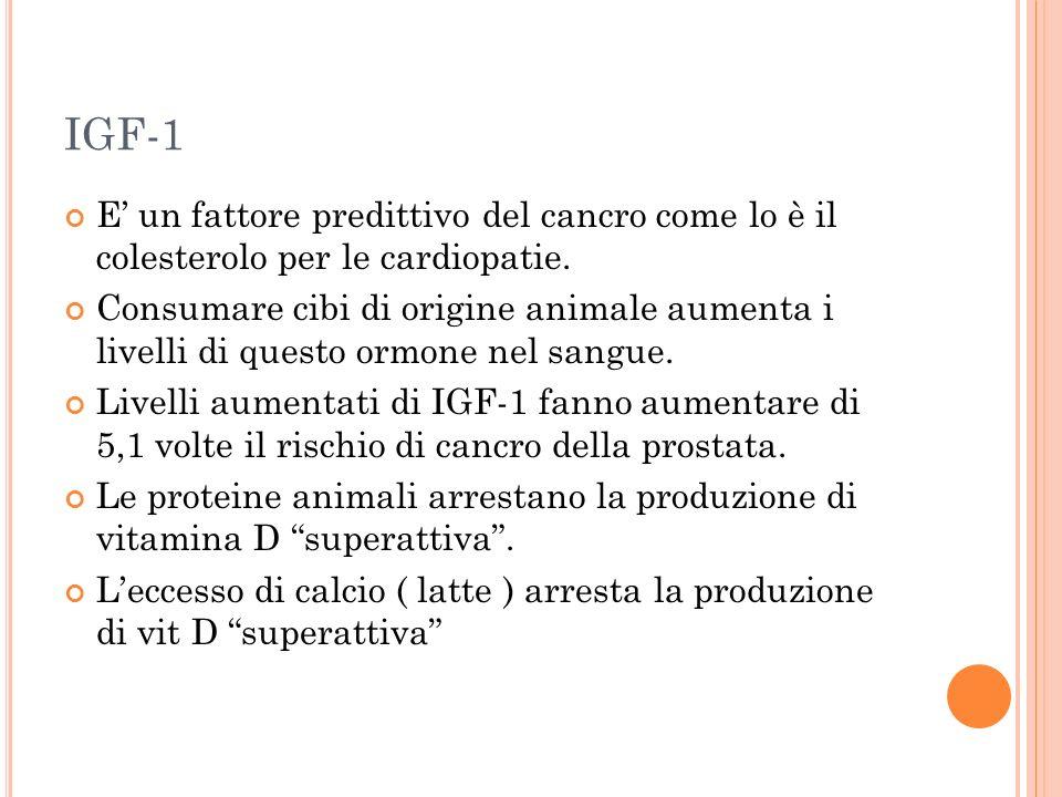 IGF-1 E' un fattore predittivo del cancro come lo è il colesterolo per le cardiopatie.