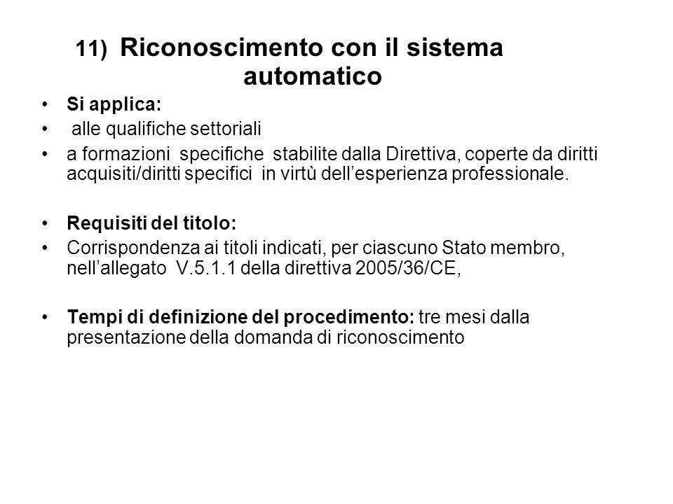 11) Riconoscimento con il sistema automatico