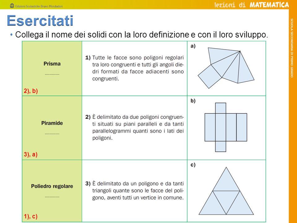 Esercitati • Collega il nome dei solidi con la loro definizione e con il loro sviluppo. 2), b) 3), a)