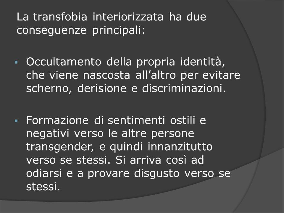 La transfobia interiorizzata ha due conseguenze principali: