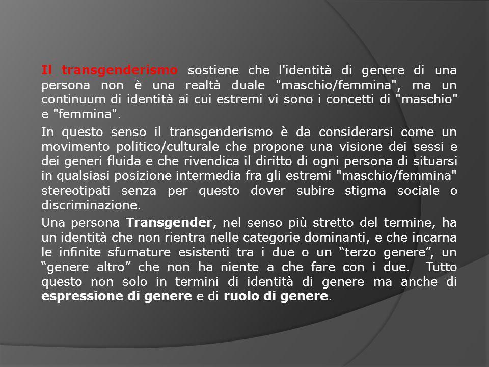 Il transgenderismo sostiene che l identità di genere di una persona non è una realtà duale maschio/femmina , ma un continuum di identità ai cui estremi vi sono i concetti di maschio e femmina .