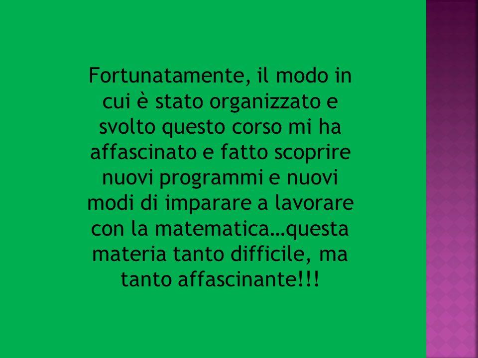Fortunatamente, il modo in cui è stato organizzato e svolto questo corso mi ha affascinato e fatto scoprire nuovi programmi e nuovi modi di imparare a lavorare con la matematica…questa materia tanto difficile, ma tanto affascinante!!!