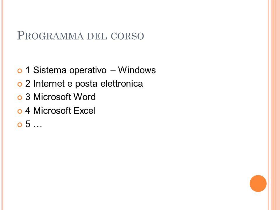 Programma del corso 1 Sistema operativo – Windows