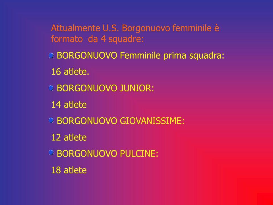 Attualmente U.S. Borgonuovo femminile è formato da 4 squadre: