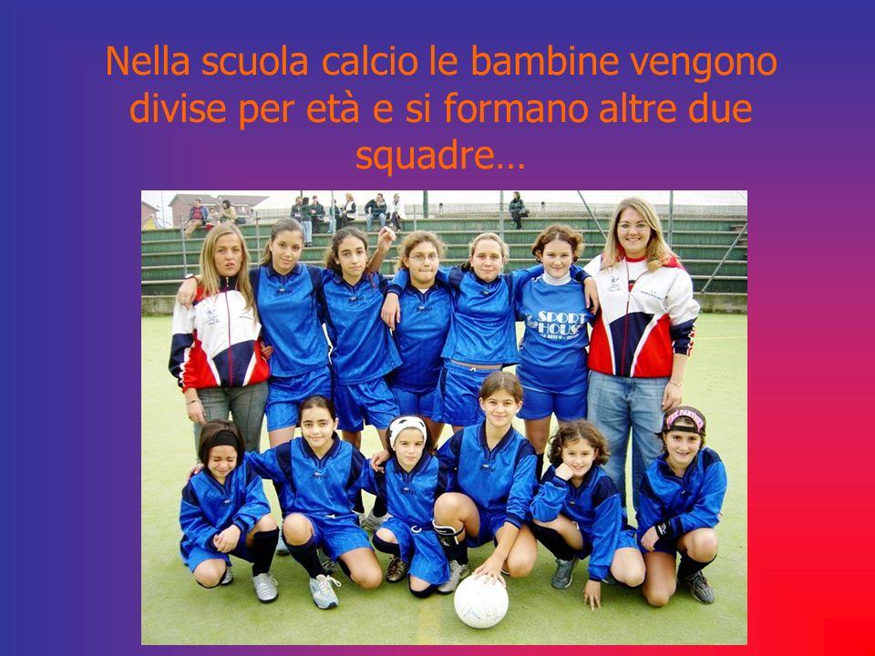 Nella scuola calcio le bambine vengono divise per età e si formano altre due squadre…