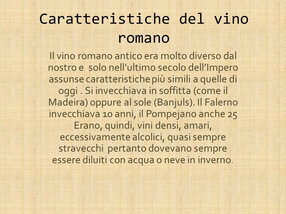 Caratteristiche del vino romano
