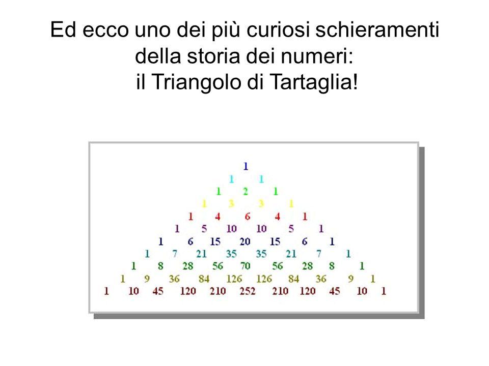 Ed ecco uno dei più curiosi schieramenti della storia dei numeri: il Triangolo di Tartaglia!