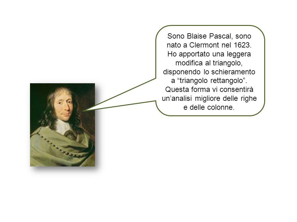 Sono Blaise Pascal, sono nato a Clermont nel 1623