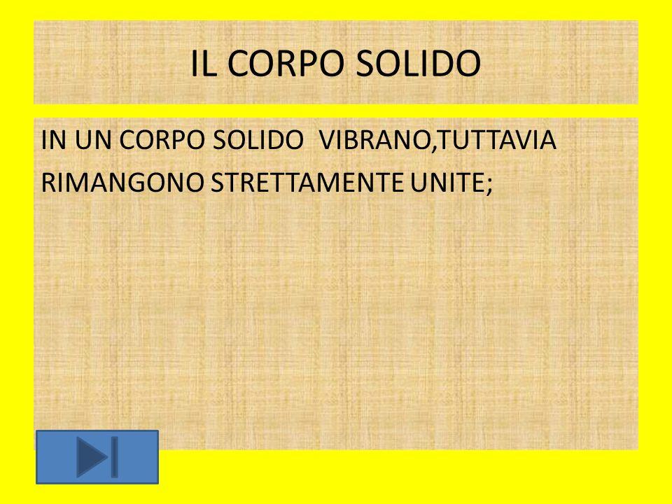 IL CORPO SOLIDO IN UN CORPO SOLIDO VIBRANO,TUTTAVIA RIMANGONO STRETTAMENTE UNITE;