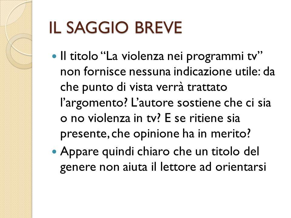 IL SAGGIO BREVE