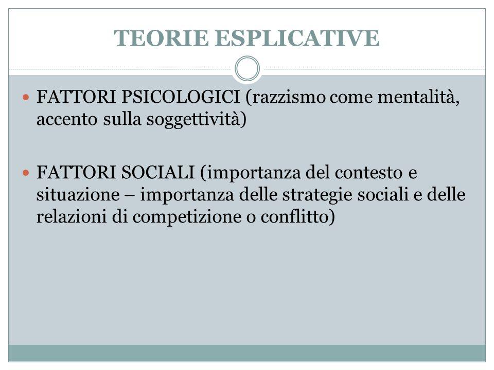 TEORIE ESPLICATIVE FATTORI PSICOLOGICI (razzismo come mentalità, accento sulla soggettività)
