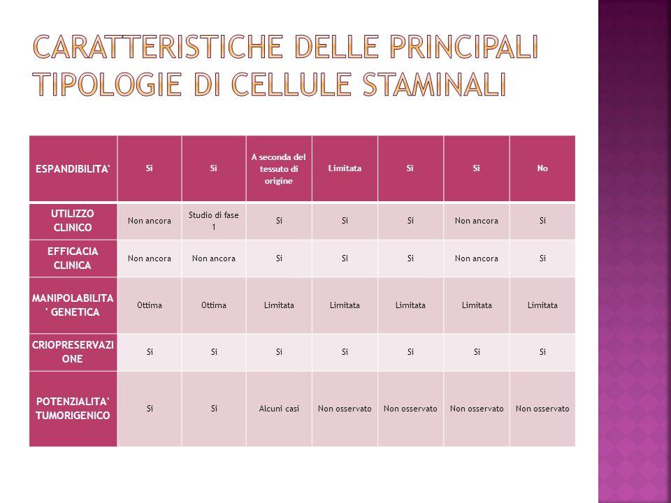 Caratteristiche delle principali tipologie di cellule staminali