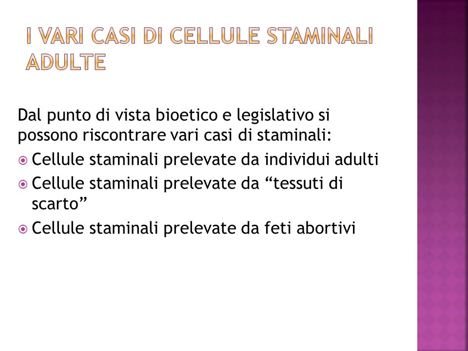 I vari casi di cellule staminali adulte