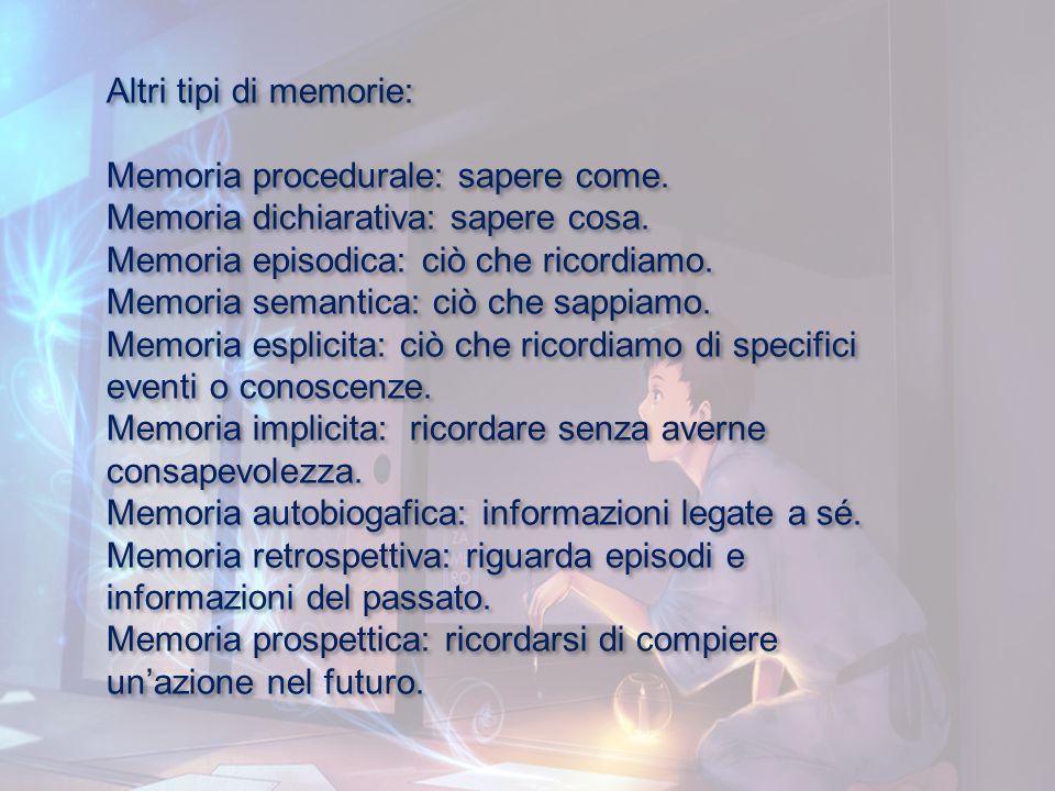 Altri tipi di memorie: Memoria procedurale: sapere come. Memoria dichiarativa: sapere cosa. Memoria episodica: ciò che ricordiamo.