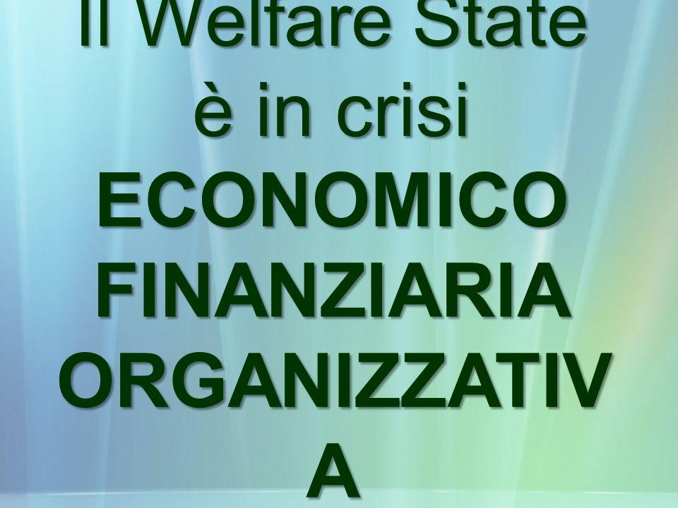 Il Welfare State è in crisi ECONOMICO FINANZIARIA ORGANIZZATIVA